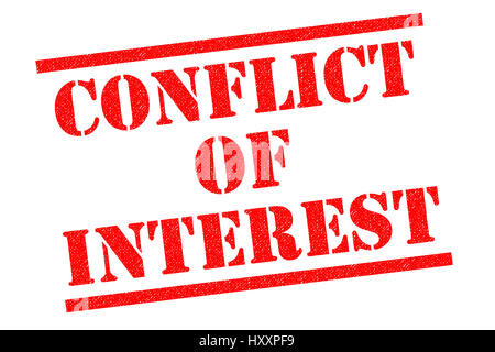 CONFLICT OF INTEREST red Rubber Stamp over a white background. - Stock Photo