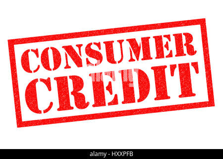 CONSUMER CREDIT red Rubber Stamp over a white background. - Stock Photo