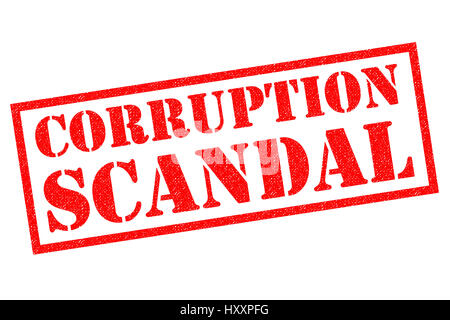 CORRUPTION SCANDAL red Rubber Stamp over a white background. - Stock Photo