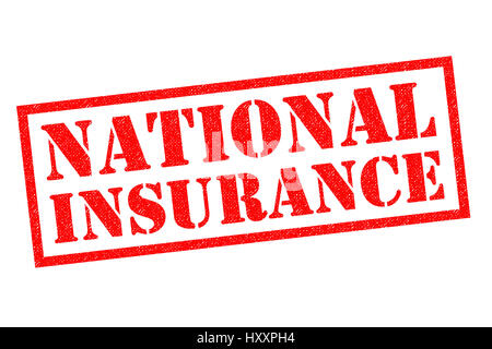 NATIONAL INSURANCE red Rubber Stamp over a white background. - Stock Photo