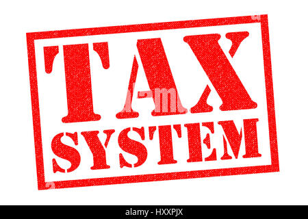TAX SYSTEM red Rubber Stamp over a white background. - Stock Photo
