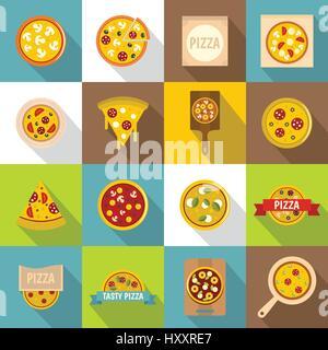 Pizza icons set food, flat style - Stock Photo
