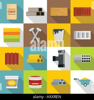 Building materials icons set, flat style - Stock Photo