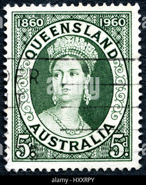 AUSTRALIA - CIRCA 1960: A used postage stamp from Australia, depicting a portrait of Queen Victoria, and commemorating - Stock Photo