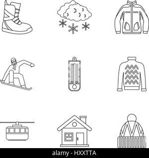 Winter holidays icons set, outline style - Stock Photo