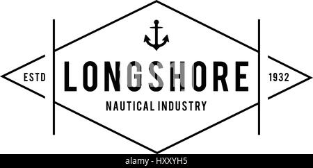 Retro Vintage Nautical and Ocean Label Badge , and old style design concept - Stock Photo