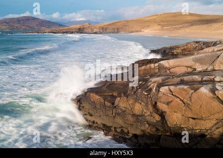 Atlantic coastline of South Harris, Outer Hebrides - Stock Photo