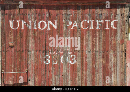 Detail of am old Union Pacific train wagon - Stock Photo