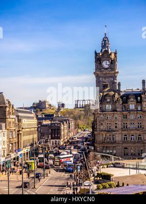 View looking East down Princes Street, Edinburgh towards the Balmoral Hotel and Calton hill with Scottish National - Stock Photo