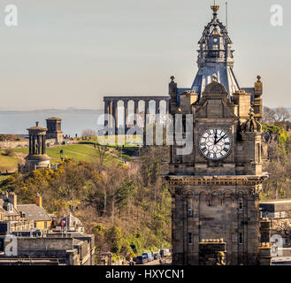 View looking East  towards the Balmoral Hotel and Calton hill with Scottish National Monument, Edinburgh, Scotland. - Stock Photo