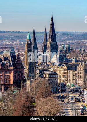 View towards west end of Princes street, Edinburgh showing spires of St John's Episcopal Church, Charlotte Chapel, - Stock Photo