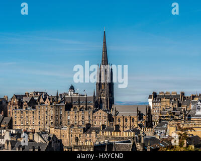 Spire of The Hub, the offices and a performance space for the Edinburgh International Festival - Stock Photo