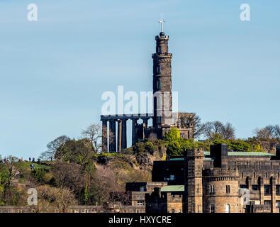 The Nelson Monument and National Monument of Scotland, Calton Hill, Edinburgh, Scotland. - Stock Photo