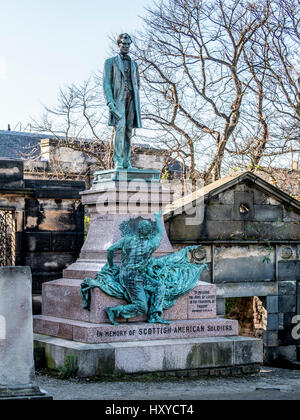 Scottish-American soldiers memorial with statue of Abraham Lincoln, Old Calton Cemetery, Edinburgh, Scotland. - Stock Photo