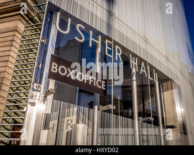 Modern Box Office extension at The Usher Hall, Edinburgh, Scotland. - Stock Photo