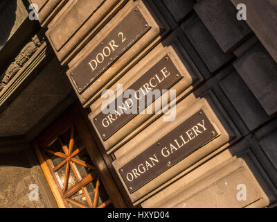 Signs at entrance to Usher Hall, Edinburgh, Scotland. - Stock Photo