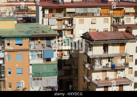 Apartment blocks crowded together in Naples - Stock Photo