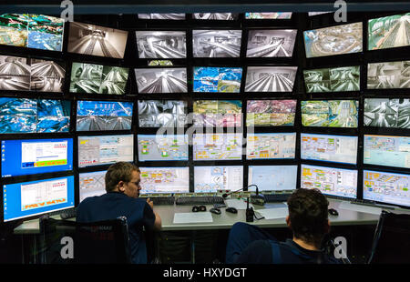SAINT- PETERSBURG, RUSSIA - AUGUST 8, 2014: Control room of the attraction Grand Russian layout. Is the largest - Stock Photo