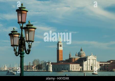 Spring afternoon in Venice, Italy. San Giorgio Maggiore church in the distance. - Stock Photo