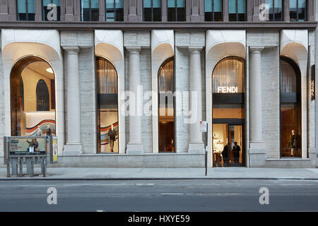 Fendi luxury store in Madison Avenue in New York. Fendi is an Italian fashion house founded in 1925 in Rome. - Stock Photo