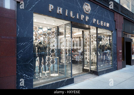 Philipp Plein store exterior in Madison Ave in New York. Philipp Plein is a german fashion designer with eponymous - Stock Photo