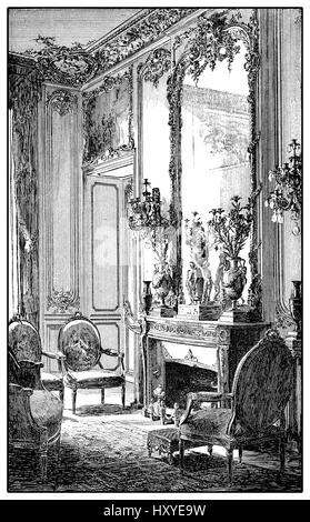Vintage engraving of baroque style richly decorated parlor with fireplace,mirror and upholstered chairs, XVII century - Stock Photo