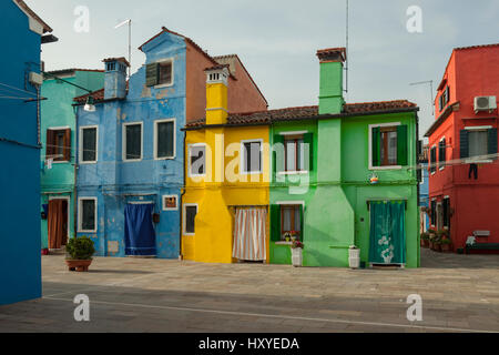 Spring afternoon on Burano island in Venice. - Stock Photo