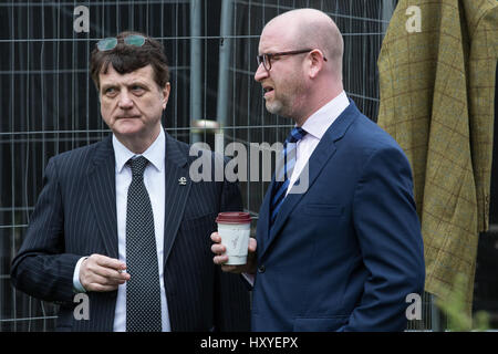 London UK. 29th March, 2017. UKIP Leader Paul Nuttall (r) and MEP Gerard Batten await Theresa May's announcement - Stock Photo
