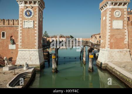 Venetian Arsenal in sestier of Castello, Venice, Italy. - Stock Photo