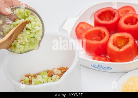 Stuffed tomatoes preparation : Stuffing mix preparation - Stock Photo