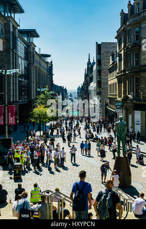 View of Buchanan Street in Glasgow from the Steps at Royal Concert Hall - Stock Photo