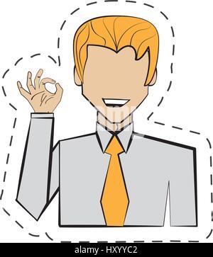 portrait man hand ok cartoon - Stock Photo