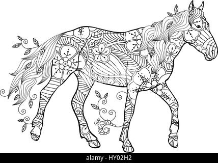 Coloring Page In Zentangle Inspired Style Running Horse Ornate By Flowers And Leaves Isolated On