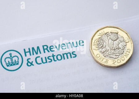 Tax letter with new pound coins - Stock Photo