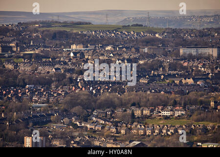 View from Castle Hill of Huddersfield town centre market town metropolitan borough Kirklees, West Yorkshire, England. - Stock Photo