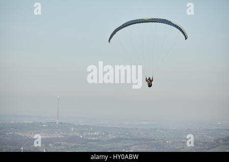 Paragliding in Holmfirth, Holme Valley, Kirklees,  West Yorkshire, England. UK. - Stock Photo