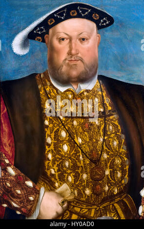 King Henry VIII by the workshop of Hans Holbein the Younger, c 1537 - Stock Photo
