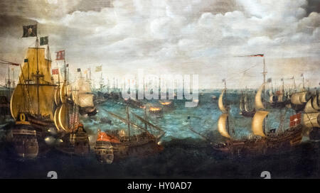 'Launch of Fireships against the Spanish Armada, 7th August 1588', Netherlandish School, oil on canvas, c.1590. - Stock Photo