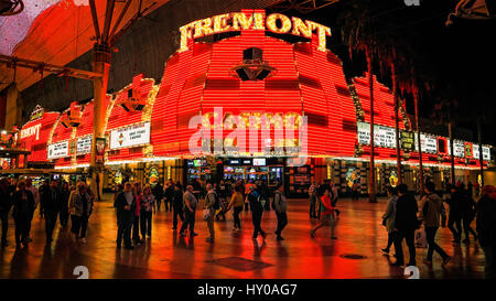 Famous Freemont Street on the Las Vegas Strip at night - Stock Photo