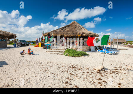 Souvenir shop beside the road on Cozumel island in Mexico - Stock Photo