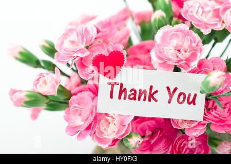 Thank you card and beautiful blooming of the pink carnation flowers on a white background - Stock Photo