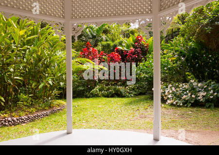 Diamond Falls Botanical Gardens at Soufriere on St Lucia in the Caribbean - Stock Photo