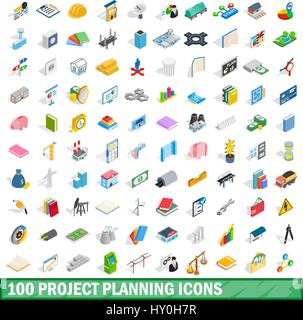 100 project planning icons set, isometric 3d style - Stock Photo