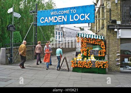 Welcome to Camden Lock sign camden market camden town London - Stock Photo
