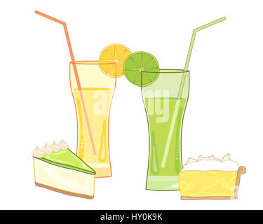 an illustration of fruity drinks with traditional desserts of lemon meringue pie and key lime pie on a white background - Stock Photo