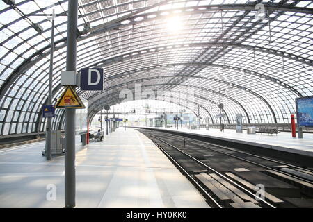 Berlin, Germany, May 7th, 2015: General strike of German train drivers (GdL) leaves the main train station empty - Stock Photo