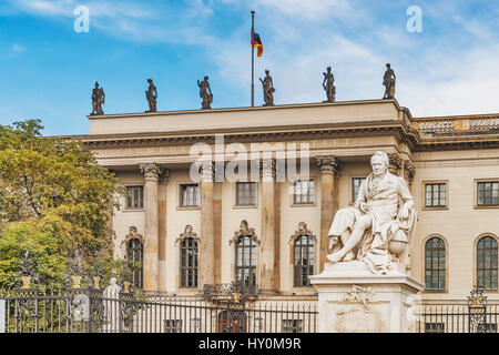 The Humboldt-Universitaet zu Berlin (HU Berlin) was founded in 1809. The late-baroque building was built from 1748 - Stock Photo