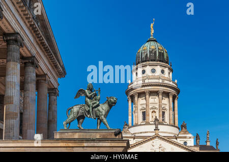The French Cathedral (Franzoesischer Dom) is located on the Gendarmenmarkt in the Berlin, Germany, Europe - Stock Photo