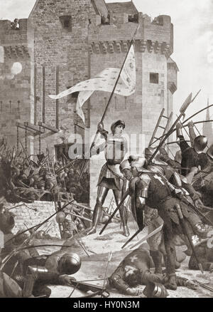 Joan of Arc at the siege of Orleans, May 1429.  Joan of Arc, 1412 - 1431, aka Jeanne d'Arc or Jeanne la Pucelle. - Stock Photo