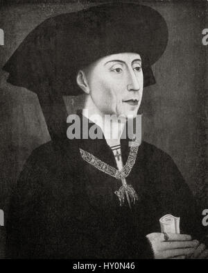 Philip the Good, 1396 – 1467.  Duke of Burgundy as Philip III from 1419 until his death. After Rogier van der Weyden. - Stock Photo